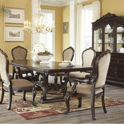 "Ashley Wendlowe Dining Room Collection - The ""Wendlowe"" Dining Collection flawlessly captures the beauty and craftsmanship of Old World design with the rich dark cherry finish flowing over the ornate details accented with gold tipping and the elegance of the accenting Prima Vera borders and dark walnut inlay to enhance the atmosphere of any dining experience."