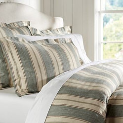 Joshua Stripe Duvet Cover, Twin, Blue