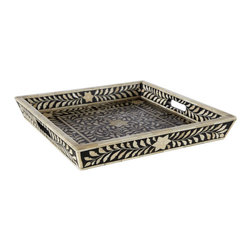 Inlaid Bone Flower Tray - We're pretty hooked on finding the perfect tray over here at Houzz. Why? Because they are so versatile. In addition to breakfast in bed, which is usually a logistical nightmare and a pipe dream, trays have a zillion uses in design. They can transform an upholstered coffee table into a cocktail table, they can organize our papers in the home office with flair, and they are always the best base for a tablescape. If you don't believe me, buy a David Hicks book.