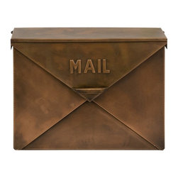 Imax 44090 Tauba Copper Mailbox - I own this mailbox and adore it. I love the antiqued copper sheen and vintage styling. It is spacious and features a hinged lid and envelope detailing.