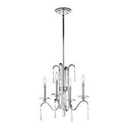 Kichler Lighting - Kichler Lighting Tara 4-Light Transitional Chandelier X-HC78234 - With this 4 light chandelier from the Tara&trade: collection, chic is in the details. Crystal accents are the pearls of the outfit, giving each piece a finished feel that's sophisticated, polished and feminine. The bright Polished Chrome finish further enhances the elegance of this design.