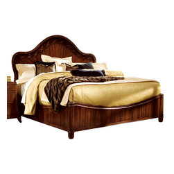 American Drew - American Drew Bob Mackie Signature Panel Bed in Rosewood - California King - Soft gentle shapes, unique patterns, a mixture of materials and elegant details all describe the unique elements that are synonymous with a Bob Mackie gown; and these motifs are evident in the Bob Mackie Home ? Signature collection by American Drew. The Signature collection is a fresh twist on classic designs. The inspiration and story is the creative use of materials and veneer work. The finish is a beautiful Rosewood color with veneer details in Primavera, Ebony, Walnut Burl, Mahogany and Cherry. black Granite, Antiqued Mirror and Golden color accents add depth, drama and sparkle to this collection. Ribbon, lace, feather and starburst motifs add the 'dare to be noticed' flair to this group. Custom designed jewelry-like hardware, pierced brass collars and brass feet on selected items add a fine, finished look to each piece. Bob Mackie Home ? Signature collection is high style, but scaled for today's homes. From creating a gracious Master Bedroom to a casual Dining or Occasional setting, this collection addresses every room in the home.