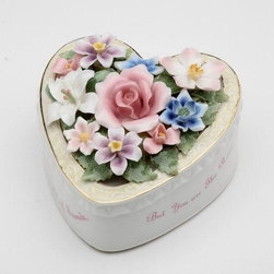 """CG - 4 Inch White Heart Shaped Floral Music Box, """"Love for Friend"""" - This gorgeous 4 Inch White Heart Shaped Floral Music Box, """"Love for Friend"""" has the finest details and highest quality you will find anywhere! 4 Inch White Heart Shaped Floral Music Box, """"Love for Friend"""" is truly remarkable."""