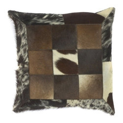 """Surya - Contemporary Accent Pillow with Faux Fur and Espresso Finish (18 x 18"""" Poly) - Choose Filling Material: 18 x 18 in. Poly. Imitation fur patchwork pillow is sure to elicit lots of excitement when you display it on your favorite chair or sofa. Rich shades of espresso, black and beige give a amazing realism to this fashionable design. Great for enhancing your bed ensemble, sofa, or favorite chair, this soft plush pillow is also available with down filling for the ultimate luxury. Animal style. Made in India. Made from 70% Cotton and 30% Jute. 18 in. W x 18 in. L"""