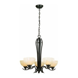 DHI-Corp - Trevie 5-Light Chandelier, Oil Rubbed Bronze - The Design House 517490 Trevie 5-Light Chandelier is made of formed steel, antique alabaster glass and finished in oil rubbed bronze. This 5-light chandelier is rated for 120-volts and uses (5) 60-watt medium base incandescent bulbs. This chandelier's sprawling arms meet (5) upward facing lamps gently diffusing light from above. Measuring 24-inches (H) by 25-inches (W), this 13.7-pound fixture comes with a 48-inch chain to hang this elegant chandelier. Flared steel details accentuate the antique glass to create a sleek centerpiece over a dining room table, in an entry way or in a kitchen. This product is UL and CUL listed. The Trevie collection features a beautiful matching vanity light, wall sconce and mini pendant. The Design House 517490 Trevie 5-Light Chandelier comes with a 10-year limited warranty that protects against defects in materials and workmanship. Design House offers products in multiple home decor categories including lighting, ceiling fans, hardware and plumbing products. With years of hands-on experience, Design House understands every aspect of the home decor industry, and devotes itself to providing quality products across the home decor spectrum. Providing value to their customers, Design House uses industry leading merchandising solutions and innovative programs. Design House is committed to providing high quality products for your home improvement projects.