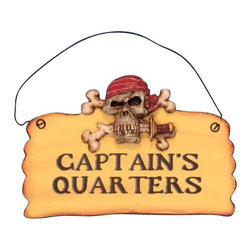 "Handcrafted Model Ships - Wooden Captains Quarters Pirate Sign 8"" - Wooden Pirate Sign - Decorate your home with classic seafaring style, add to your collection of pirate decor, and mount this Wooden Captains Quarters Pirate Sign 8"" in your home. This sign combines many pirate themed elements into one sign by adding a pirate skull, cross bones, and sharp blade."