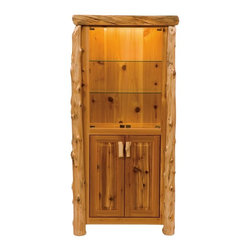 Fireside Lodge Furniture - Cedar Display Log Cabinet - Cedar Collection. 3 Shelves behind glass door. 2 Door storage cabinet. Lighted upper cabinet. Non-slamming hinges on glass doors. Lower unit hinges are concealed European Style for a clean uncluttered look. Wood handles. Northern White Cedar logs are hand peeled to accentuate their natural character and beauty. Clear coat catalyzed lacquer finish for extra durability. 2-Year limited warranty. 30 in. W x 15 in. D x 72 in. H (135 lbs.)