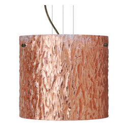 Besa Lighting - Besa Lighting 1KG-4184CS-LED Tamburo 1 Light LED Cable-Hung Pendant - Tamburo is a classic open-ended cylinder of handcrafted glass, a shape that will stand the test of time. Our Stone Copper Foil glass is a clear blown glass with an outer texture of coarse sandstone, with distressed metal foil hand applied to the inside. Inspired by the elements of nature, the appearance of the surface resembles the beautiful cut patterning of a rock formation. This blown glass is handcrafted by a skilled artisan, utilizing century-old techniques passed down from generation to generation. Each piece of this decor has its own artistic nature that can be individually appreciated. The cable pendant fixture is equipped with three (3) 10' silver aircraft cables and 10' AWM cordset, and a low profile flat monopoint canopy.Features: