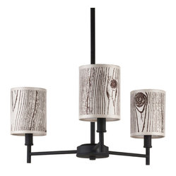 Walker 3-Arm Chandelier, Powder-Coated Black Base, Faux Bois Light