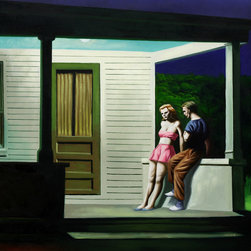 overstockArt.com - Hopper - Summer Evening - Summer Evening is a remarkable oil painting with exceptional use of color, detail and brush strokes. First created in 1947 this painting pays close attention to the effects of light on a pair relaxing on a porch with the man engaged in conversation. This treatment has become well known in Hopper's work. Hopper received many honors in his lifetime for his exceptional use of color, detail, and subject matter. His classic works capture the authenticity of urban and rural American life with emotions and beauty that have placed them among the lasting and popular images of the American 20th century landscape. Make this painting a part of your home collection.