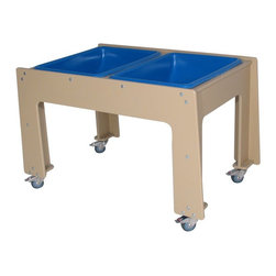 Strictly for Kids - Strictly for Kids Deluxe Polyethylene Double Sensory Table - SKPG330 - Shop for Sand and Water Toys from Hayneedle.com! A perfect learning tool for young kids the Strictly for Kids Deluxe Polyethylene Double Sensory Table teaches through sensory play. Young ones can explore through various textures and materials like sand and water or slime beans and rice. Featuring locking casters the table is easy to maneuver around. In addition its construction of heavy-duty UV-stabilized polyethylene makes it tough enough for the outdoors as well as for daily use. It comes with sturdy polyethylene tubs.