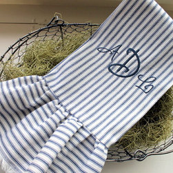 Blue Ticking Tea Towel With Ruffle And Monogram By Sutton Place Designs - Ticking fabric and monograms? It is a match made in heaven for sure! This tea towel would be the perfect way to add a touch of charm to your kitchen or bathroom.