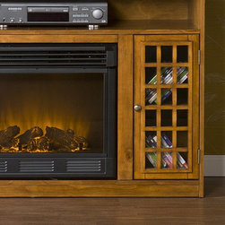 "Wildon Home � - Lipan 50"" TV Stand with Electric Fireplace - Features: -Cabinets on two sides and open shelf which has two rear openings for cord management.-Contemporary style.-Wood is distressed with worm holes and imperfections.-One adjustable shelf in each cabinet.-Realistic flickering flame effect.-Long life LED lights.-Consumes no wood or fossil fuels.-Adjustable flame brightness control.-Produces zero emissions or pollutants.-Comes with easy to use adjustable thermostat.-100% energy efficient with low operating costs.-Plugs into standard wall outlet.-Comes with remote control (2 AAA batteries required).-Perfect for any room.-ISTA 3A certified.-Eco-friendly.-Ideal for up to 50'' flat screen television.-Mantel supports up to 85lbs.-Distressed: No.Specifications: -Tested to heat 1500 cubic feet in only 24 minutes.-120V-60Hz, 1500W / 5000 BTUs, 12.5 Amp.Dimensions: -Firebox front dimensions: 20'' H x 23'' W.-Cabinets dimensions: 21'' H x 9'' W x 14'' D.-Shelf dimensions: 7'' H x 46'' W x 15'' D.-Overall Product Weight: 123 lbs.Warranty: -Manufacturer provides one year warranty on parts."