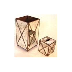 Worlds Away Antique Mirror Wastebasket with Crosshatching - Antique Mirror Wastebasket with Crosshatching