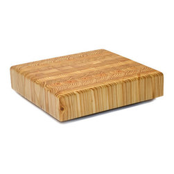 Larch Wood - Larch Wood Square Cheese Cutting Board 8-7/8 x 8-3/8 x 2 - Display your cheese wheel and wedges in style with this Larch Wood square cheese board. Textured with beautiful end-grain Eastern larch, this board draws both attention and praise due to its unique appeal.