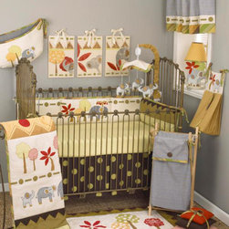 "Cotton Tale Designs - Elephant Brigade 8 Piece Crib Bedding Set - A quality baby bedding set is essential in making your nursery warm and inviting. All Cotton Tale patterns are made using quality materials and are uniquely designed to create your perfect nursery. The Elephant Brigade collection is a unique pattern with bright colored forest and a family of elephants. Contemporary yet whimsical, the brigade crossing a landscape of beautiful greens, neutrals and red. The Elephant Brigade 8 Piece Set includes the 4 Piece bedding set(bumper, crib sheet, coverlet, dust ruffle) diaper stacker, pillow pack, toy bag, and valance. The coverlet is quilted on natural percale with rich warm colors of the mountains and landscape at bottom and top. The quilt could easily be a piece of fun folk art adorning your nursery wall. The green dot sheet is 100% cotton, 300 thread count. The bed skirt is giant dot printed canvas. The four sectional bumper is embroidered with the trees and elephants. The bumper is trimmed in the yarn dyed stripe with large cord and ties. The Elephant Brigade Diaper Stacker is quilted and embroidered with a cute baby elephant and tree. It is made in toast brown with woven stripe bias and ties. Holds up to 4 doz. folded diapers, 23 x 10 inches. Should tie to chest or changer, not on the crib. The Pillow Pack consists of three pillows. The dimensions for the pillows are 15 x 15, 10 x 10, 8 x 8. Perfect for decorative accents but never in the crib. Spot clean only. The Toy Bag is quilted in natural with elephant and trees. Toy Bag can be used as wall decor or can tie on changer or chest. Never tie on crib. 10 lbs. capacity. The final piece in this 8 piece set is the valance. It is the straight, embroidered, string tie valance. Made in elephant gray with trims in multi stripe. Measures 54"" x 15"". This pattern is wonderful for both boy and girl. Elephant Brigade is a baby bedding for the discriminating parent who appreciates original design."
