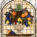 """Meyda Tiffany - Meyda Tiffany 13297 Stained Glass Tiffany Window Garden Flowers Collect - 25"""" W 29"""" H Fruit bowl WindowA Cornerstone Beige Background Frames A Bowl Brimming With Delectable Concord Blue And Purple Grapes, Oranges, Cerise Cherries, And Golden PearsIncludes mounting bracket and chains"""
