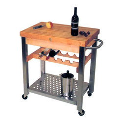 "John Boos - Kitchen Cart-Island w Wine Rack - Cucina D'Vi - The two inch thick maple top is covered in a varnique finish and perfect for meals large and small. The stainless steel shelf and towel rack are other convenience included with this cart. Rich maple top offers 2 �_"" thick serving space. This kitchen cart can be used as extra space for food preparation or it can be a stylish serving cart. Above the shelf, you will find a wine rack with room for five bottles or wine. * 2.25 in. thick solid maple top. Food Service Grade, Stainless steel shelf. Solid maple wine rack. 3 in. locking casters. Stainless steel towel bar. Varnique finish. 35 in. H x 20 in. D x 30 in. W x 90 lbs"
