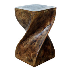 Kammika - Big Twist Stool Sustainable Wood 12x12x20 inch Ht w Eco Friendly Livos Mocha Oil - Revel in the simplistic beauty of our Sustainable Monkey Pod Wood Big Twist Stool 12 inch x 12 inch x 20 inch height with Eco Friendly, Natural Food-safe Livos Mocha Oil Finish. Very impressive, this elegant piece can be appreciated from any angle. Use it as an end table, display stand or stool; two together can serve as a coffee table. Eco friendly, natural Mocha oil - comprised of translucent, eco friendly, natural, food-safe Livos Black oil over eco friendly, natural, food-safe Livos Chestnut oil - creates a dark mocha finish where the wood color and grain shows through in dark brown and mocha tones. Hand carved from a single piece of Monkey Pod wood, these are easily moved around for use in any situation. Each piece is a Work of Art! Craftspeople from the Chiang Mai area in Northern Thailand create these pieces with the simplest of tools. After each sustainable Monkey Pod wood (Acacia, Koa, Rain Tree grown for wood carving) stump is kiln dried, carved and sanded, it is rubbed in Livos Mocha oils. These natural oils are translucent, so the wood grain detail is highlighted. There is no oily feel and cannot bleed into carpets, as it contains natural lacs. Hand crafted from a sustainable Monkey Pod wood species, we make minimal use of electric hand sanders in the finishing process. All products are dried in solar and or propane kilns. No chemicals are used in the process, ever. After each stool is carved, kiln dried, sanded, and hand rubbed with Livos oils, they are packaged with cartons from recycled cardboard with no plastic or other fillers. The color and grain of your piece of Nature will be unique, and may include small checks or cracks that occur when the wood is dried. Sizes are approximate. Products could have visible marks from tools used, patches from small repairs, knot holes, natural inclusions or holes. There may be various separations or cracks on your piece wh