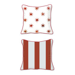 Casart Coverings - Stars & Stripe Accent Pillow Slipcover - Reversible, all-weather, washable pillow slipcover