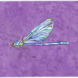 Caroline's Treasures - Dragonfly On Purple Kitchen Or Bath Mat 24X36 - Kitchen or Bath COMFORT FLOOR MAT This mat is 24 inch by 36 inch. Comfort Mat / Carpet / Rug that is Made and Printed in the USA. A foam cushion is attached to the bottom of the mat for comfort when standing. The mat has been permenantly dyed for moderate traffic. Durable and fade resistant. The back of the mat is rubber backed to keep the mat from slipping on a smooth floor. Use pressure and water from garden hose or power washer to clean the mat. Vacuuming only with the hard wood floor setting, as to not pull up the knap of the felt. Avoid soap or cleaner that produces suds when cleaning. It will be difficult to get the suds out of the mat
