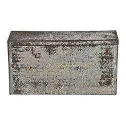 Rectangular Tin Storage Box - Vintage rustic tin rectangular storage box with hinged lid.