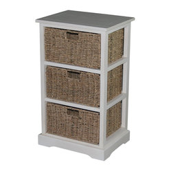 Urbanest 1000480 Accent Storage Cabinet with 3 Sea Grass Baskets, Antique White