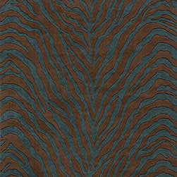 Momeni - Momeni Deco Animal Prints Zebra Teal Blue 5' x 8' Rug by RugLots - Contemporary designs in a rich color palette give Deco its edge. Power-loomed of 100% New Zealand wool, this collection features hand-serged edges and hand-carving for added depth.