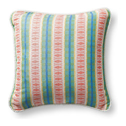Frontgate - Diamond Trail Tropica Outdoor Pillow - 100% Sunbrella® solution-dyed acrylic woven fabric,. Finished with White Terry Cloth piping. Resists fading, mold and mildew. High-density polyester fill. Spot clean with mild soap and water; air-dry only. The Sunbrella Diamond Trail Tropical Outdoor Pillow is sure to spruce up any outdoor setting with its brilliantly colored striped pattern. Made exclusively for Frontgate, the plush, textured pillow will delight throughout the seasons. 100% Sunbrella solution-dyed acrylic woven fabric, .  .  .  .  . Sewn closed . Made in the USA.