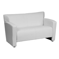Flash Furniture - Majesty White Leather Love Seat - Having the right office waiting room furniture is essential for companies wanting to send the proper message to both clients and employees. Not only will this chair fit in a professional environment, but will add a chic look to your living room space. This leather love seat will get the message sent properly with its uncomplicated yet attractive design to fit in a multitude of environments.