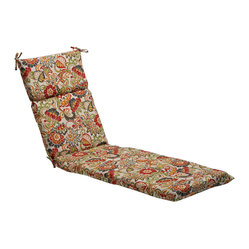 Pillow Perfect - Multicolored Floral Outdoor Chaise Lounge Cushion - Spruce up your lawn chairs with these patterned outdoor chaise lounge cushions. Made with padded sections for comfort, these weather-resistant, tie-on cushions are printed with a multicolored floral print that works in any outdoor space.