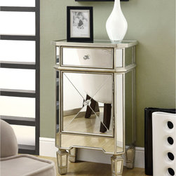 Mirrored 1-drawer Accent Cabinet -