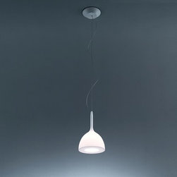 Artemide - Castore Calice 18-42 Pendant Lamp by Artemide - Castore Calice 18-42 Pendant Lamp by Artemide. The diffuser design is enhanced by a removable-fitting and tapering luminous stem, that makes gentle the transition from the strong diffuser light to the blind lamp structure area. Ceiling rose and stem in thermoplastic resin, blown glass diffuser. Diffused and direct light emission. Castore Calice 18-42 Pendant Lamp by Artemide are designed by Michele De Lucchi , Huub Ubbens.