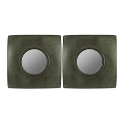 """Cooper Classics - Sabine Frameless Rectangular Mirror - Dark Green Finish with Brown Crackle Highlights Frame Dimensions: 11""""W X 11""""H X 2.5""""D; Mirror Dimensions: 5""""W X 5""""H; Finish: Dark Green with Brown Crackle Highlights; Material: Wood; Beveled: No; Shape: Square; Weight: 3; Included: Brackets, Ready to Hang Vertically or Horizontally"""