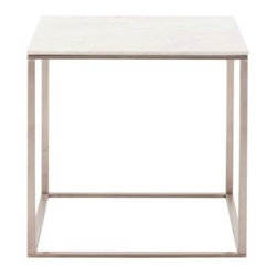 Blu Dot - Blu Dot Minimalista Side Table, Marble - Nothing but the bare essentials here. Sublime stainless steel gently supports your choice of top. Available in graphite-on-oak, marble and walnut.