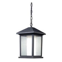 Z-Lite - Z-Lite 524CHM Mesa 1 Light Outdoor Lamps in Oil Rubbed Bronze - This chain-hung outdoor fixture is unique because of its duel-layered construction that gives it a stylish, modern look. The outer glass shell is seedy glass, while the inner glass is a matte opal, which creates an inviting warm glow. To complete the look, this outdoor fixture is finished in oil rubbed bronze.