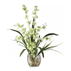 Nearly Natural - Nearly Natural Dancing Lady Orchid Liquid Illusion Silk Flower Arrangement in Gr - With its winding stems and curvy stalks, it's easy to see why this member of the Orchid family is called the Dancing Lady inches. These beautiful and unique orchids rest snugly in a short oval-shaped glass container, which is filled with artificial water and an abundant supply of river rock to compliment its appeal. This extraordinary arrangement is the perfect way to spice up any room or office space.
