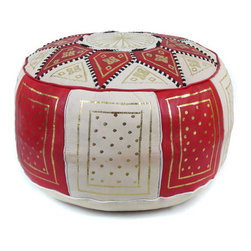 Ikram Design - Red / Beige Fez Moroccan Leather Pouf - These combination-colored poufs are particularly beautiful in conservatively decorated rooms, yet they can enhance the beauty of just about any room. Allowing you to pair them up with gorgeous colors, these combination traditional styled poufs are functional and comfortable and of course, they are also beautiful and come pre-stuffed with filling fiber.