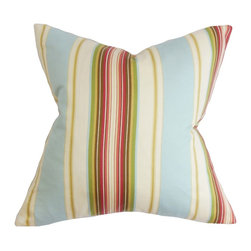 """The Pillow Collection - Douce Stripe Pillow Blue 18"""" x 18"""" - Add a colorful accent to your living space with this square pillow. This decor pillow features a combination of warm and cool hues in shades of red, green, blue, yellow, orange and white. The vibrant stripe pattern offers a fresh look to your living room or bedroom. Crafted in 100% high quality cotton fabric. Hidden zipper closure for easy cover removal.  Knife edge finish on all four sides.  Reversible pillow with the same fabric on the back side.  Spot cleaning suggested."""
