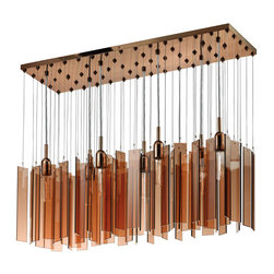 Sonneman - Chimes Polished Bronze Seven-Light Rectangle Pendant with Bronze Shade - - Light shimmers, peeks through, and is reflected by the subtle movements of warm bronze glass panels that gently rotate on their monofilaments. Chimes is a kinetic sculptural experience, from fixtures in many sizes to an entire custom ceiling that will dazzle and delight. Fixture Includes: 61pcs Bronze Glass.  - Chain or Rod Length: 120 Adjustable Cord  - Canopy: 11L x 36W  - Bulbs NOT included  - Shade Length/depth: 0.25  - Material: Glass, Metal  - Made in China Sonneman - 4647.02