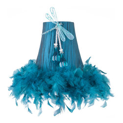 Brandi Renee Designs - All Lit Up Tricked Out Teal Lamp Shade - Our All Lit Up Tricked Out Teal dragonfly shade is made from a beautiful deep blue fabric that's gathered to create a stunning sheered effect. The bottom is finished off with fun matching blue feather boa trim and our bejeweled dragonfly sits front and center on the shade. Like every BRDesign lampshade, our All Lit Up Tricked Out Teal lampshade is handcrafted from the finest quality materials.
