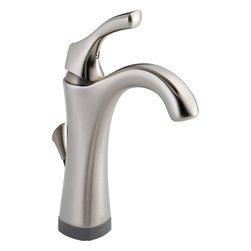 """Delta - Delta Addison 592T-SS-DST 1-Handle Lavatory Faucet, Touch2O.XT (Stainless Steel) - This single-handle lavatory faucet features a 1- or 3-hole installation, a 5-1/2"""" long spout, a lever handle for precise volume and temperature control, 3/8"""" O.D. staggered PEX supply tubes, a 1.5 GPM flow rate, and 4 AA batteries. This model features Delta's new Touch2O.XT and Touch2O technologies, allowing you to command the on/off functionality of your faucet by being within 4"""" of the faucet. The Touch2O technology allows you to also touch the spout or handle to control the on and off functions. This faucet comes in a classic, Stainless Steel finish."""