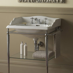 Vanities, Washstands, Pedestals... - Unique console designed for Cambridge basin complete with glass shelf and towel rack.