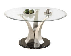 Homelegance - Homelegance Charlaine Glass Top Round Cocktail Table with Black Base - Homelegance - Coffee Tables - 340001 - Three gracefully curved and tapered hand -rubbed brushed chrome pillars rise from round black bases to create the softened contemporary aura of the Charlaine Collection. Round cocktail table round end table and semi-circular sofa tables are available to add a touch of high quality clean and contemporary style to your living space.