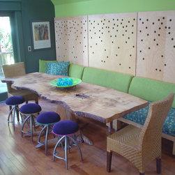 Maple Slice Dining Table on Peeled Natural Stump - Free Form Maple Tree Slice Dining Table with Perfect Peeled Tree Stump Base