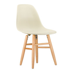 Shaker Slope Chair in Cream - Our cream Shaker Slope Chair puts a new spin on one of our most iconic designs. Featuring the same smooth polypropylene seat as our Mid-Century Slope Chair, this classic piece features a traditional leg design comprised of four connecting dowels. Juxtaposing an ultra-modern seat with a traditional base creates for a unique, contemporary design. The Shaker Slope Chair is still conisdered an inspired design, inspired by a manufacturing process of the mid-20th century. The original was born out of technological advancements that allowed a chair to be constructed out of a single mold. With the original no longer in production, today's designers have improved the process even further, resulting in a comfortable, stylish lightweight chair. We see this chair fitting in at home, in the office, or anywhere you need an extra seat. Available in a variety of vibrant colors, use it to add a spark of personality and style to your room of choice today.