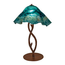 Mathews & Company - Wrought Iron South Fork Branch Table Lamp with Large Glass Shade - Our Rustic style wrought iron South Fork Branch Table Lamp with Large Glass Shade is a beautiful piece of hand-crafted home furniture. Lamp is UL Approved and pre-wired, all you have to do is add a light bulb and plug it in to start enjoying its warm light. Pictured in Turquoise shade and Aged Rust finish.