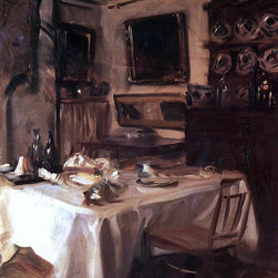 "John Singer Sargent My Dining Room - 16"" x 20"" Premium Archival Print - 16"" x 20"" John Singer Sargent My Dining Room premium archival print reproduced to meet museum quality standards. Our museum quality archival prints are produced using high-precision print technology for a more accurate reproduction printed on high quality, heavyweight matte presentation paper with fade-resistant, archival inks. Our progressive business model allows us to offer works of art to you at the best wholesale pricing, significantly less than art gallery prices, affordable to all. This line of artwork is produced with extra white border space (if you choose to have it framed, for your framer to work with to frame properly or utilize a larger mat and/or frame).  We present a comprehensive collection of exceptional art reproductions byJohn Singer Sargent."