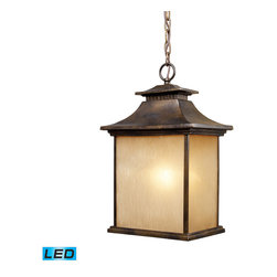 ELK - Elk Lighting 42183/1-LED San Gabriel Outdoor Pendant - During The Late 1800's And Early 1900's, Missionary Padres From Spain Created The California Mission Style, Which Was A Simplified Version Of Centuries Old Spanish Architecture. This Style Was Known For Its Simplicity Of Form With Minimal Ornamentation. The San Gabriel Collection Pays Homage To This Design Philosophy With Smooth Architectural Lines And A Hazelnut Bronze finish. This Outdoor Pendant Uses 1- LED