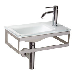 WS Bath Collections - Pocieta 665811.29.83 Wall Mounted Sink - Pocieta by WS Bath Collections Bathroom Sink (Washbasin) 17.7 x 10.2 Wall-mount Integrated Glass Basin and Top with Faucet Hole with Towel Bar